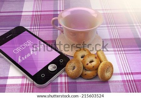 Mobile phone with order breakfast text, coffee cup and donuts, order online concept illustration design. - stock photo