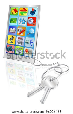 Mobile phone with set of keys attached. Secure phone access or phone unlocking.