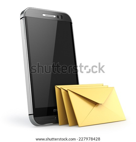 Mobile phone with short message service. Smartphone with envelopes. Sms concept. 3d - stock photo