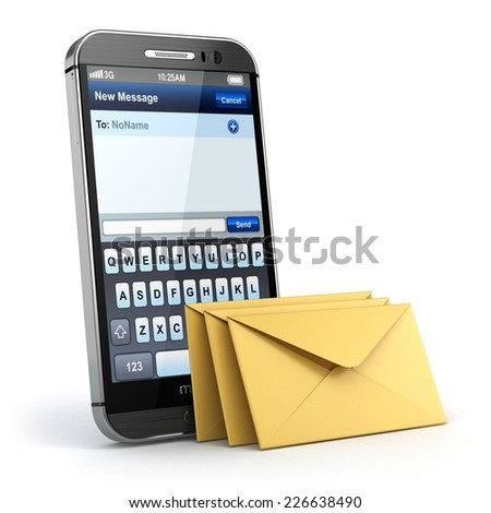Mobile phone with short message service. Sms on the screen. 3d - stock photo