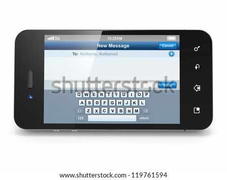 Mobile phone with sms menu screen. Space for text. 3d - stock photo
