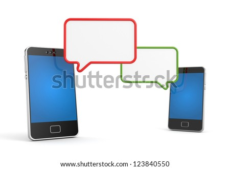 Mobile phone with speech bubble - stock photo