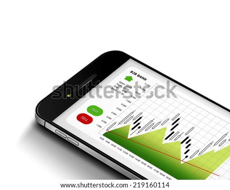 mobile phone with stock market chart isolated over white background - stock photo