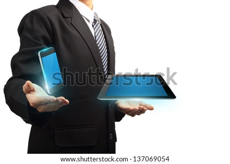 Mobile phone with tablet computer technology in the hands of businessmen, isolated on white background Objects with Clipping Paths for design work - stock photo