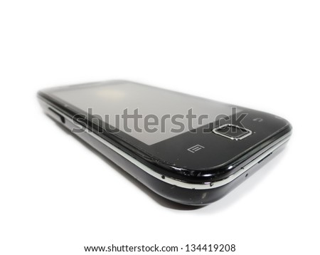 Mobile phone with touch screen isolated on white.