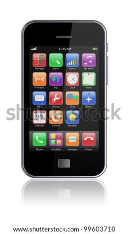 Mobile phone with touchscreen. 3d image - stock photo