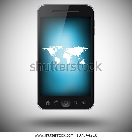 Mobile phone with world map on a screen - stock photo