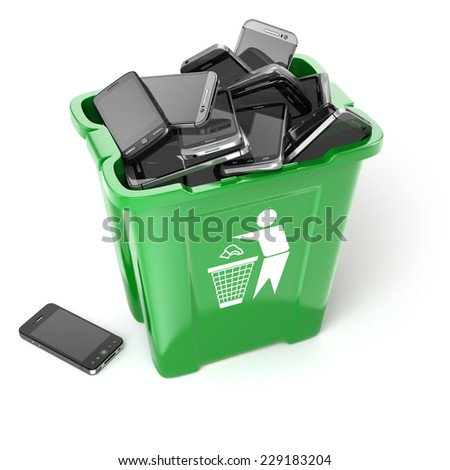 Mobile phones in garbage can isolated on white background. Utilization cellphones concept. 3d - stock photo