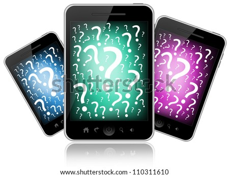 Mobile phones isolated on white background - stock photo