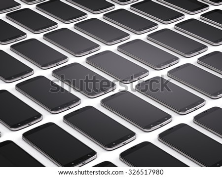 Mobile phones, smartphones background - stock photo