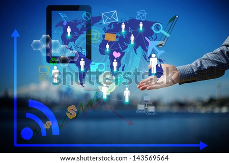 Mobile phones technology business concept, Creative network