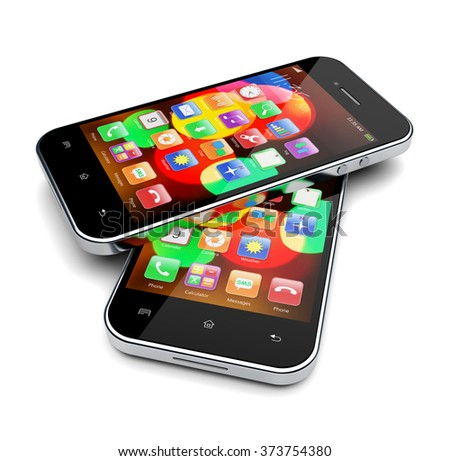 Mobile phones with colorful bokeh wallpaper and apps on a screen. 3d image