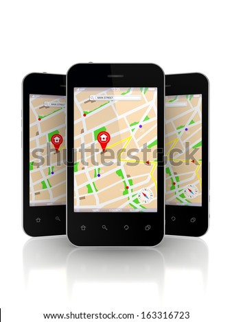 Mobile phones with GPS navigator on screen.Isolated on white.3d rendered.