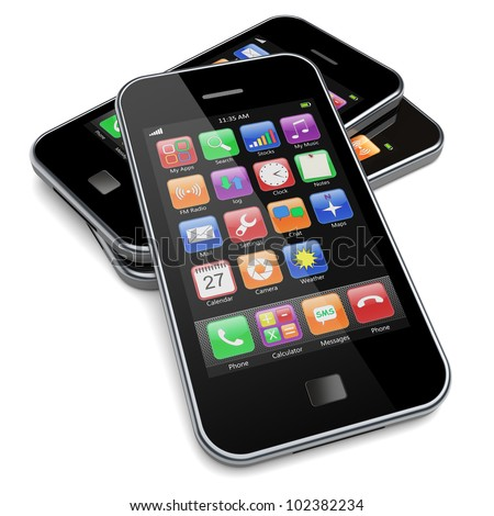 Mobile phones with touchscreen and colorful apps . 3d image - stock photo