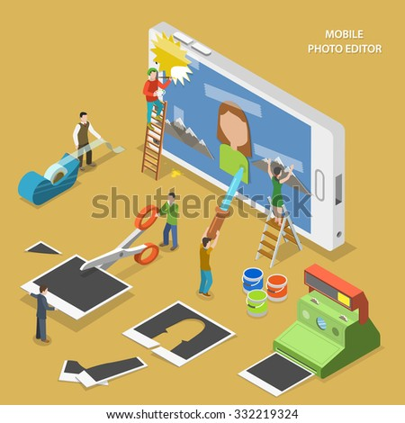 Mobile photo editor flat isometric concept. People create and image on smartphone using photos, sticky tape and paint. - stock photo