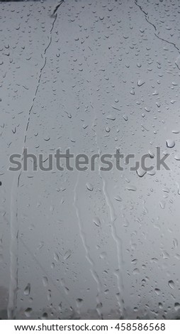 Mobile photo, melancholy background - rain drops on glass