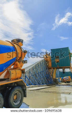 Mobile plant for the production of concrete - stock photo