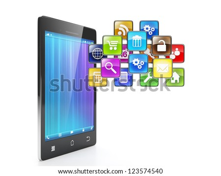 Mobile position as a cloud of the icons. Mobile phone and mobile group of icons