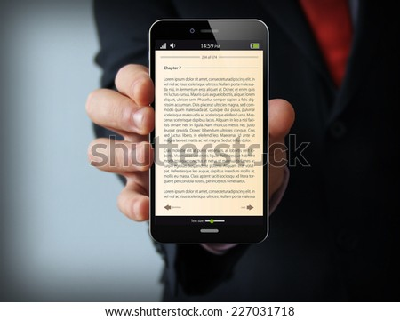 Mobile reading and literature library concept: book with text in  touchscreen smartphone - stock photo