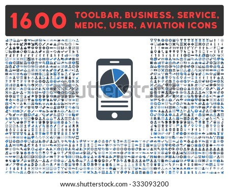Mobile Report glyph icon and 1600 other business, service tools, medical care, software toolbar, web interface pictograms. Style is bicolor flat symbols, smooth blue colors, rounded angles, white - stock photo