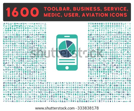 Mobile Report raster icon and 1600 other business, service tools, medical care, software toolbar, web interface pictograms. Style is bicolor flat symbols, cobalt and cyan colors, rounded angles, white - stock photo