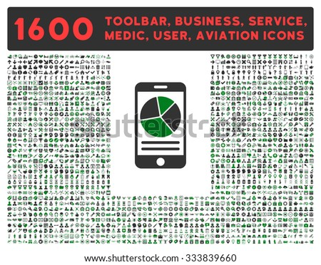 Mobile Report raster icon and 1600 other business, service tools, medical care, software toolbar, web interface pictograms. Style is bicolor flat symbols, green and gray colors, rounded angles, white - stock photo