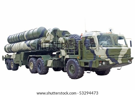 Mobile rocket launcher on white - stock photo