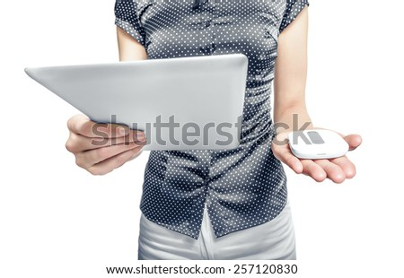 Mobile router with tablet pc. 3G or LTE network concept. - stock photo