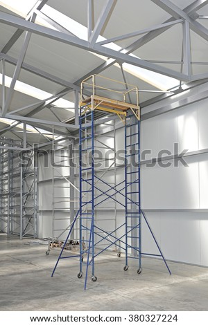 Mobile Scaffolding Tower Platform in Distribution Warehouse - stock photo