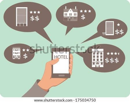 Mobile search for a hotel. A hand holding a mobile device, hotel options with star ratings and prices in the bubbles - stock photo