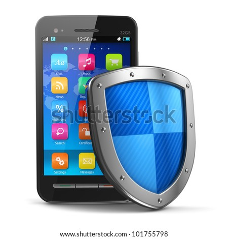 Mobile security and antivirus protection concept: black glossy touchscreen smartphone covered by metal protection shield isolated on white background - stock photo