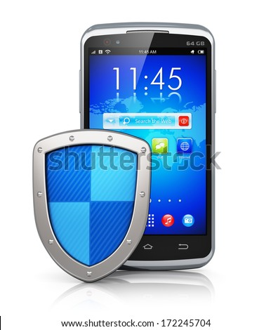 Mobile security and antivirus protection concept: black glossy touchscreen smartphone covered by metal protection shield isolated on white background with reflection effect