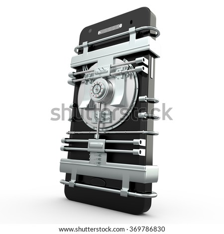 Mobile security and protection concept, 3D - stock photo