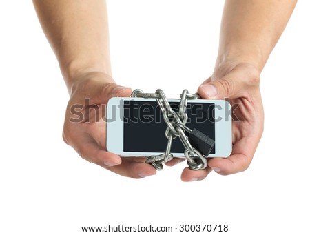 Mobile security application interface concept with white background - stock photo
