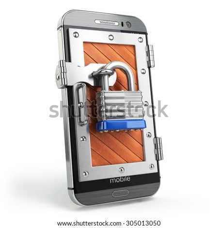 Mobile security or protection concept. Smartphone with padlock.  3d - stock photo