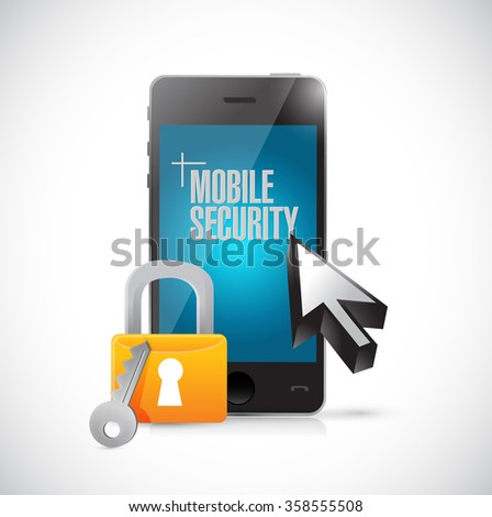 mobile security phone and lock illustration design graphics - stock photo