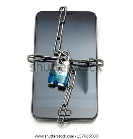 mobile security with mobile phone and lock - stock photo