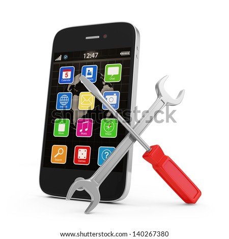 Mobile Service Concept. Touchscreen Smartphone with Wrench and Screwdriver isolated on white background - stock photo