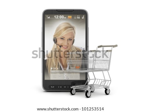 Mobile shopping - cell phone and cart - stock photo