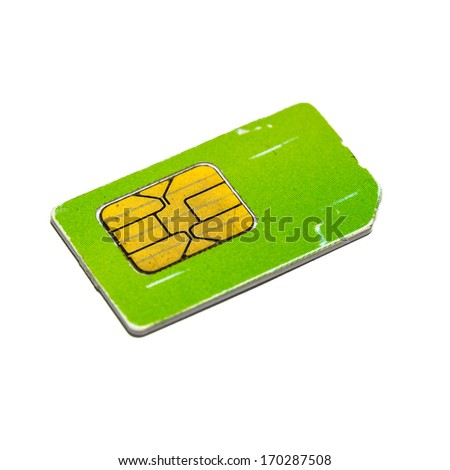 mobile sim card isolated on white background - stock photo