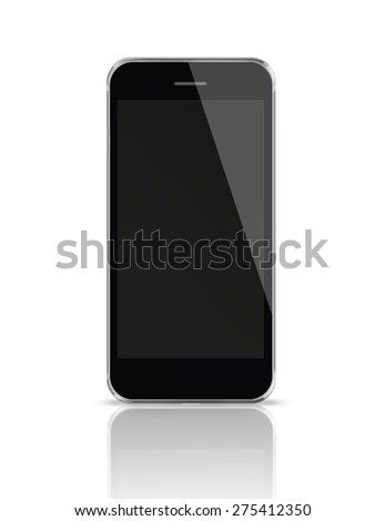 Mobile smart phone iphon style mockup with black screen isolated on white background. Highly detailed illustration. - stock photo