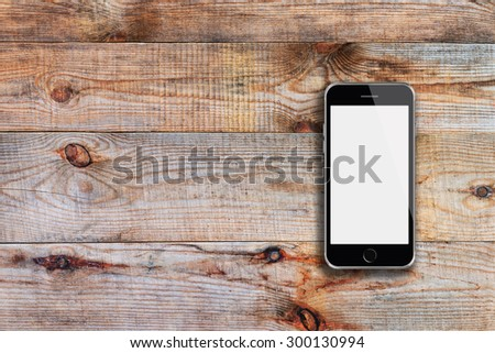 Mobile smart phone iphon style mockup with white screen on wooden background. Highly detailed illustration. - stock photo