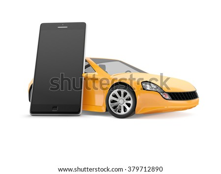 mobile smart phone with black empty display next to yellow sport car on white background