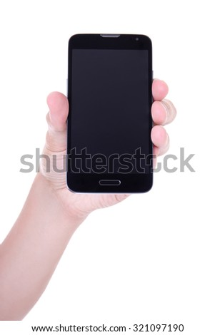 mobile smart phone with blank screen in male hand isolated on white background - stock photo