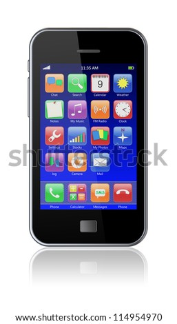 Mobile smart phone with blue screen and colorful apps. 3d image