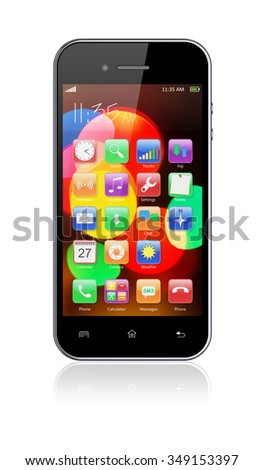 Mobile smart phone with colorful bokeh wallpaper and apps on a screen. 3d image