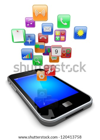 Mobile smart phone with software apps icons . 3d image - stock photo