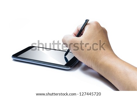 Mobile smart phone with touch pen in hand. Isolated on white.