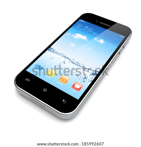 Mobile smart phone with water and sky wallpaper and colorful apps on a screen.
