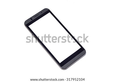 Mobile smart phone with white screen on isolated background